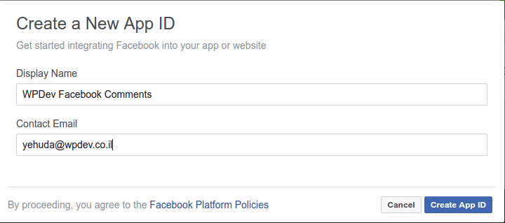 Create Fb App